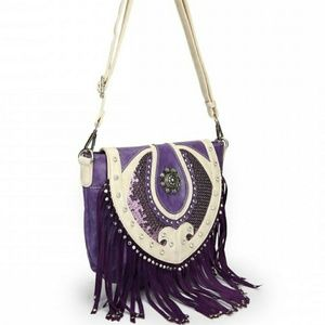 Handbags - Cowgirl trendy western style purple sequin bag